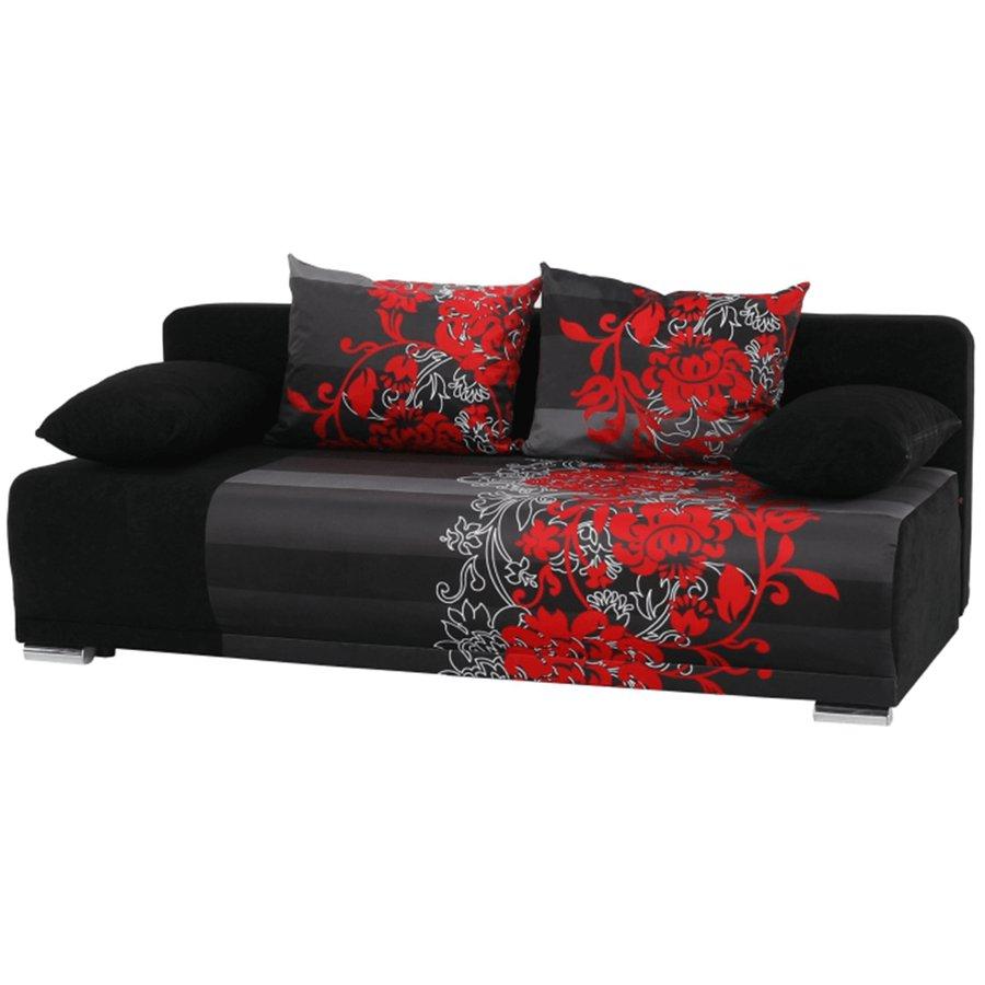 Pohovka rozkladacia, čierna/červený vzor, REMI