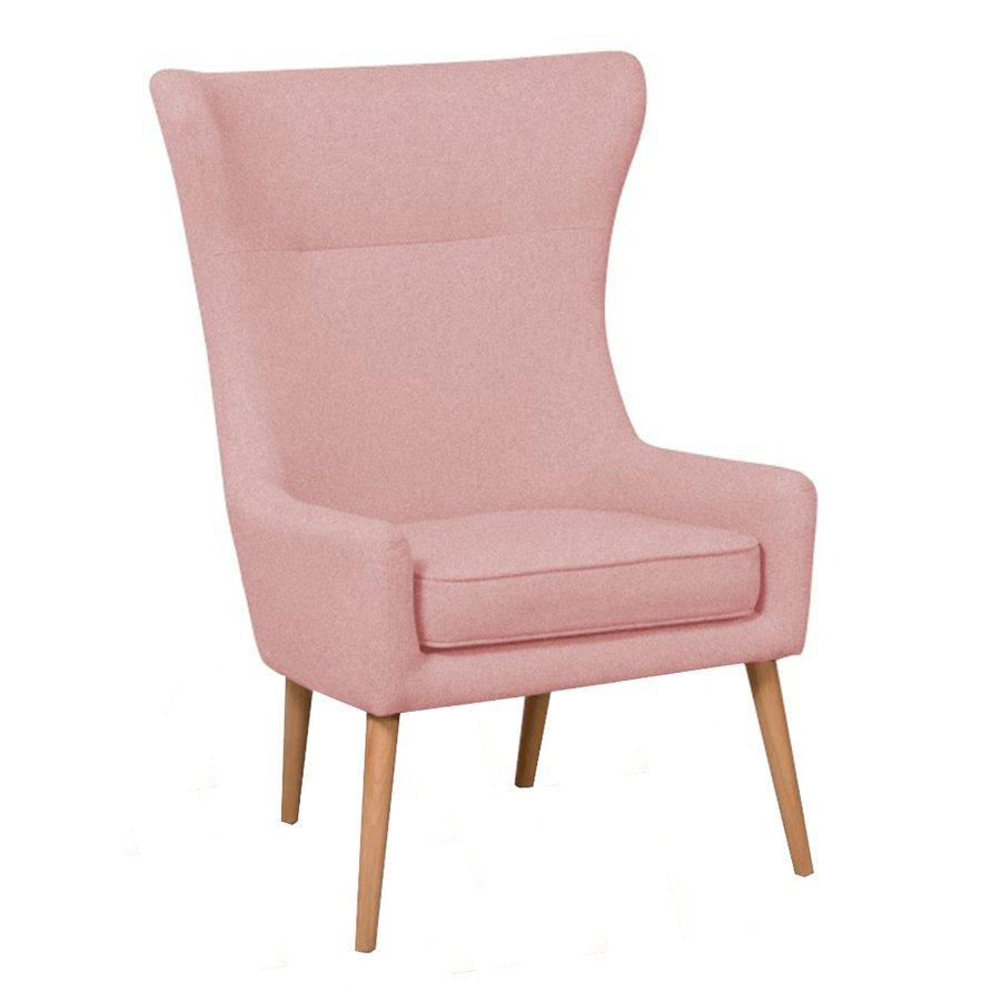 Kreslo ušiak, ružová/buk, FADOR